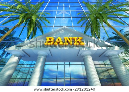 Banking business concept, skyscraper building as a bank office and tropical landscape - stock photo