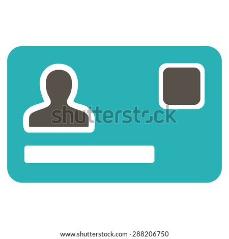 Banking Card icon from Business Bicolor Set. This flat raster symbol uses grey and cyan colors, rounded angles, and isolated on a white background. - stock photo