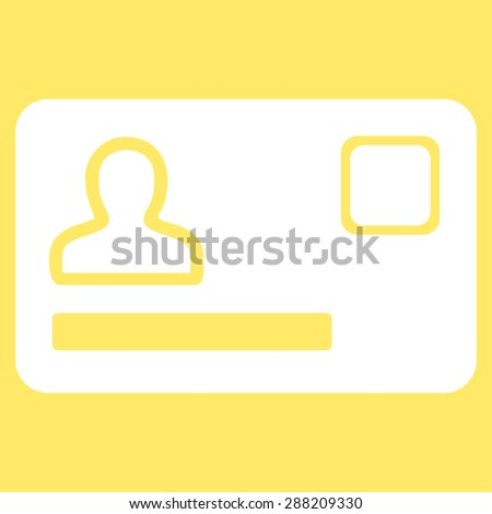 Banking Card icon from Business Bicolor Set. This flat raster symbol uses white color, rounded angles, and isolated on a yellow background. - stock photo