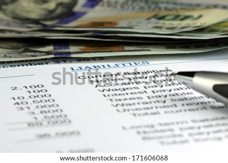 Banking cash flow statement - stock photo