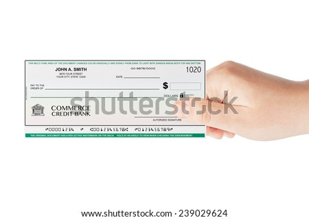 Banking Check holded by hand on a white background - stock photo
