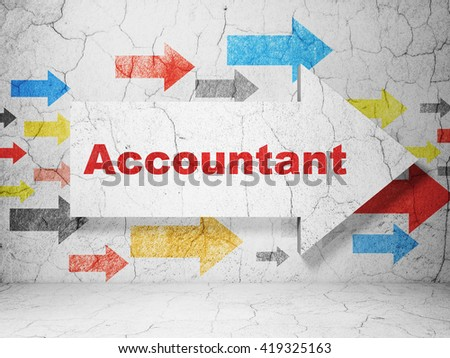 Banking concept:  arrow with Accountant on grunge textured concrete wall background, 3D rendering