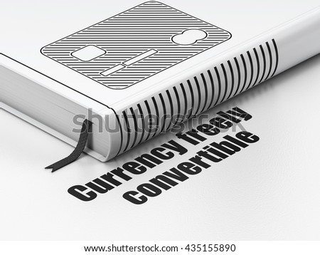 Banking concept: closed book with Black Credit Card icon and text Currency freely Convertible on floor, white background, 3D rendering
