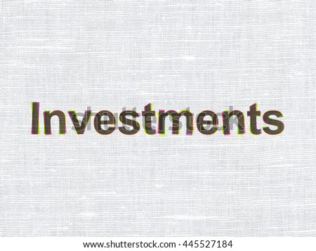 Banking concept: CMYK Investments on linen fabric texture background
