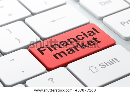 Banking concept: computer keyboard with word Financial Market, selected focus on enter button background, 3D rendering - stock photo
