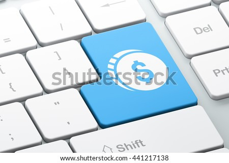 Banking concept: Enter button with Dollar Coin on computer keyboard background, 3D rendering