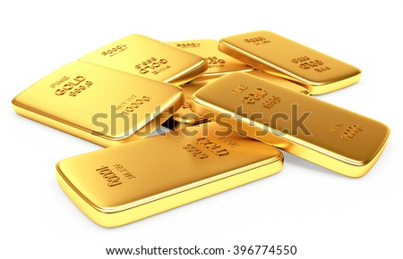 Banking concept. Heap of flat golden bars isolated on a white background. 3d illustration.