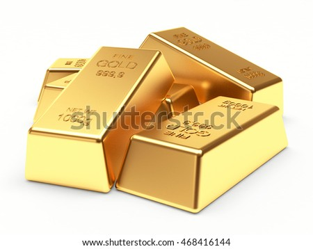 Banking concept. Heap of golden bars isolated on a white background. 3d illustration.