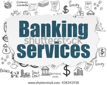 Banking concept: Painted blue text Banking Services on Torn Paper background with  Hand Drawn Finance Icons