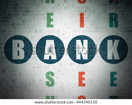 Banking concept: Painted blue word Bank in solving Crossword Puzzle on Digital Data Paper background - stock photo