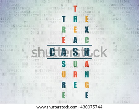 Banking concept: Painted blue word Cash in solving Crossword Puzzle on Digital Data Paper background - stock photo