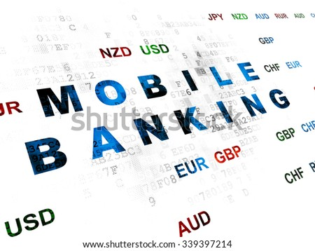 Banking concept: Pixelated blue text Mobile Banking on Digital wall background with Currency