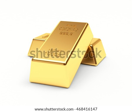 Banking concept. Two golden bars isolated on a white background. 3d illustration.