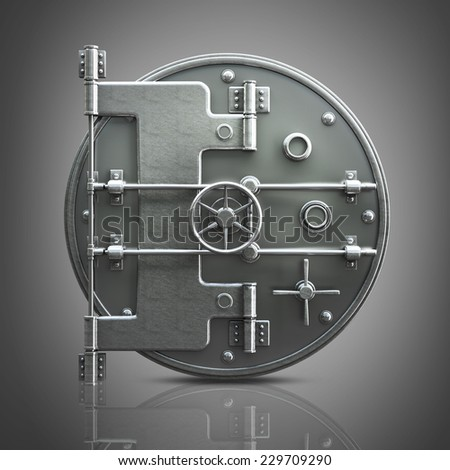 Banking metallic door, vault. High resolution 3d  - stock photo