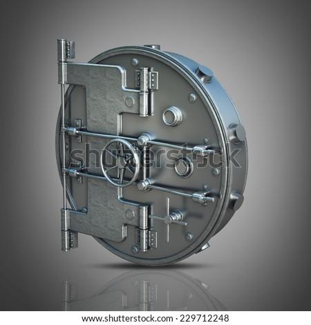 Banking metallic door, vault. High resolution 3d  - stock photo