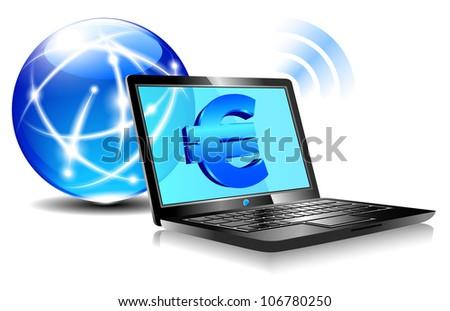 Banking online Pay by internet with money symbols for European Euro - Raster Version - stock photo
