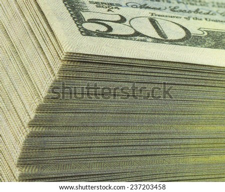 banking pack of dollar banknotes, detail, macro - stock photo