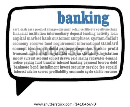Banking word cloud in speech bubble - stock photo