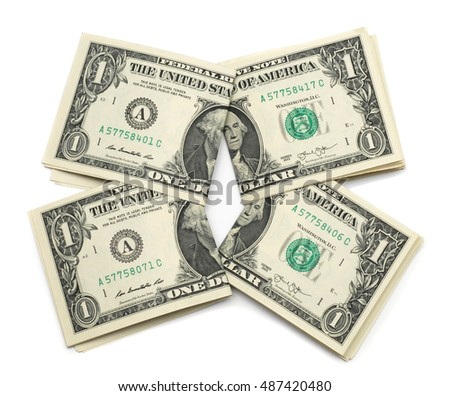 Banknote 1 dollar isolated on white background. Flat lay, top view