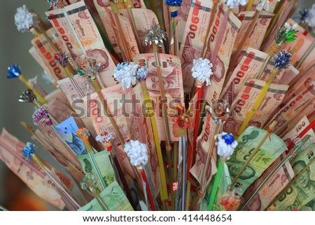 Banknote for donation, Thai ceremony - stock photo