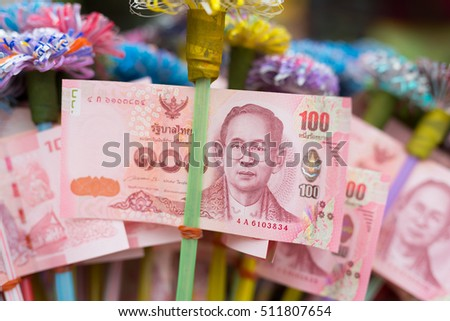 Banknote for donation, Thai ceremony, Buddhist ceremony