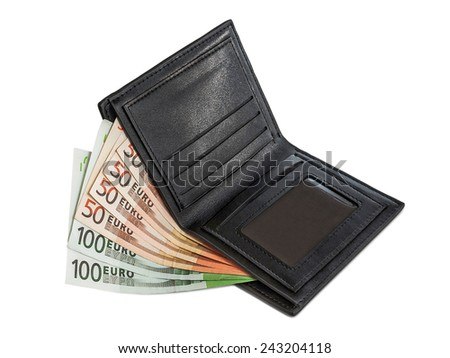 Banknote hundred and fifty euros are in black wallet isolated on white background - stock photo