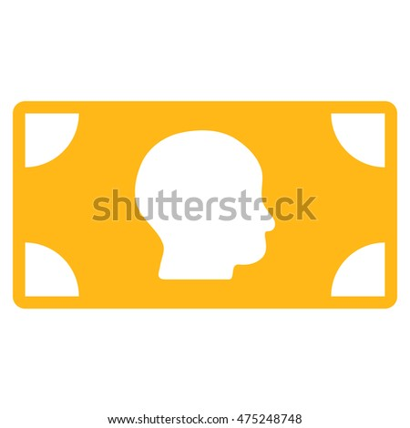 Banknote icon. Glyph style is flat iconic symbol with rounded angles, yellow color, white background.