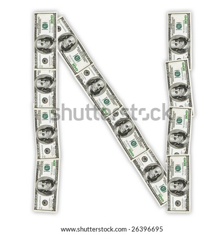 banknote letter n with clipping path