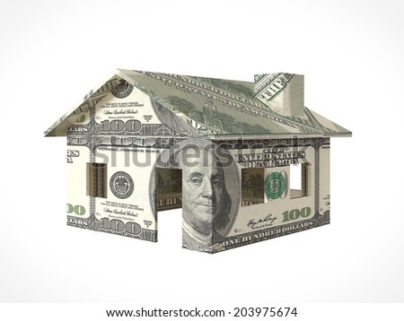 Banknote model house. Real estate concept. - stock photo