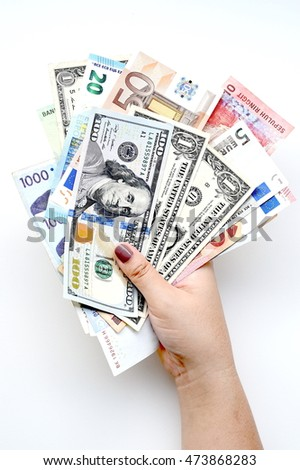 Banknote on hand isolated on white background