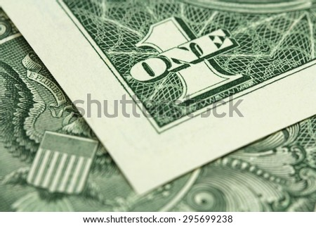 banknote one US dollar closeup - stock photo