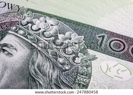 Banknote 100 PLN - Polish Zloty - stock photo