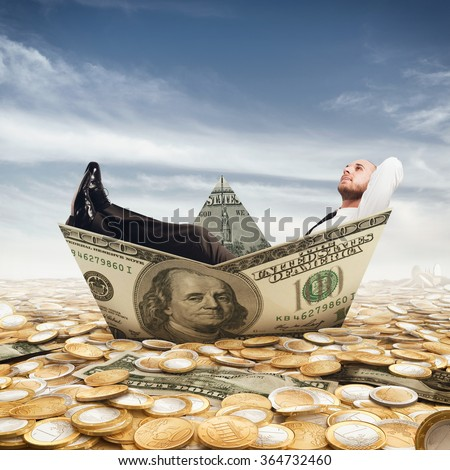 Banknote ship - stock photo