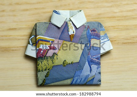Banknote 20 swedish crowns folded as a shirt - stock photo