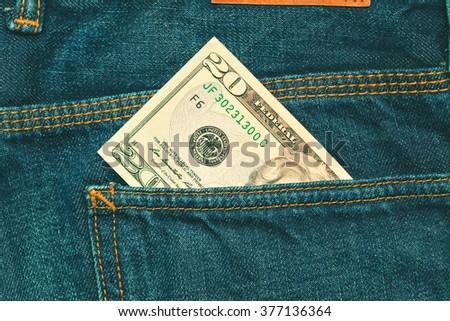 banknote twenty dollars - stock photo