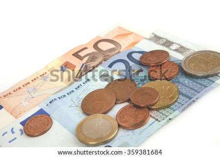 Banknotes and coins euro - stock photo