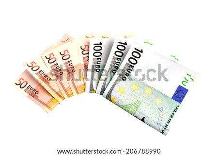 banknotes 50 and 100 euro closeup on white background