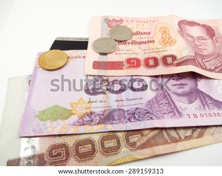 Banknotes, coins, Thai baht money, credit card, finance business on white background