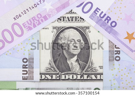 banknotes euro and dollar in the form of  house - stock photo