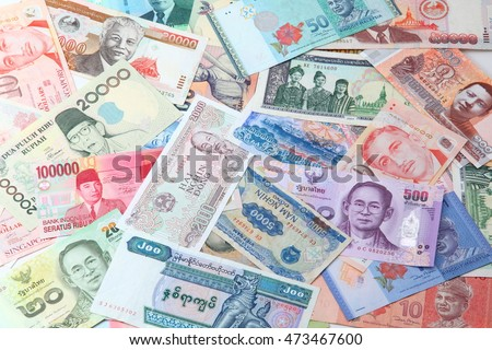 Banknotes from different countries of ASEAN(Asean Economics Community)