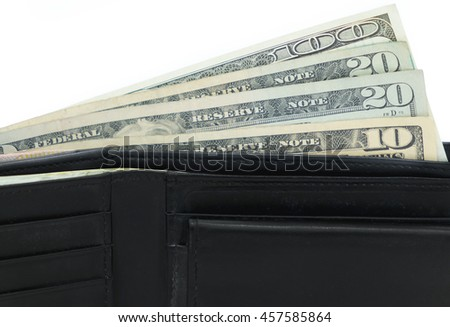 Banknotes in black leather wallet for economy, saving, funds concept .