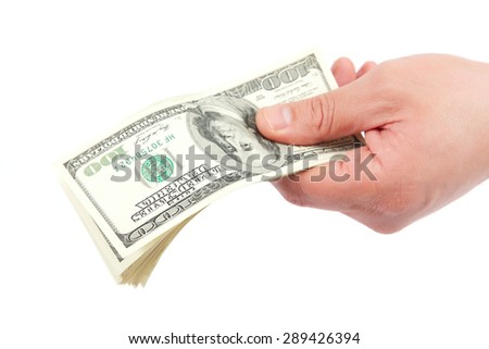 Banknotes in hand isolated on a white background. - stock photo