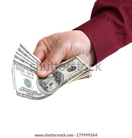 Banknotes in hand isolated on white background.
