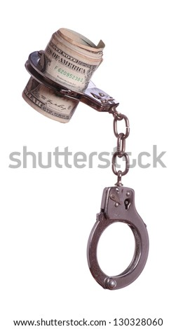 banknotes in handcuff - stock photo