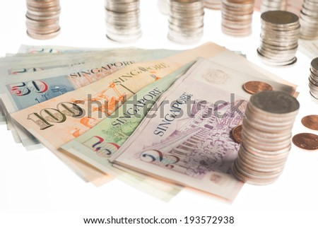 Banknotes,Money of Thailand and Singapore - stock photo