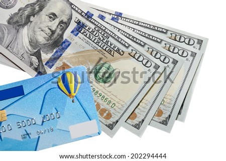 banknotes of dollars and credit card isolated on a white background - stock photo
