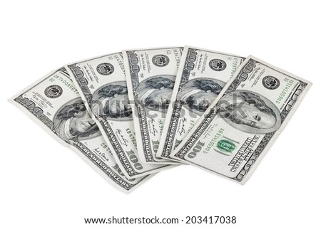 Banknotes of 100 dollars isolated on white background with clipping path