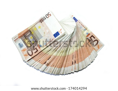 Banknotes of 50 euro - stock photo