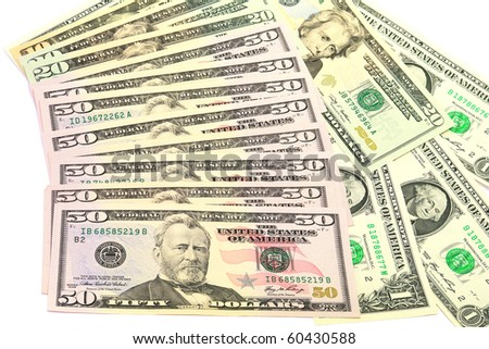 Banknotes of fifty dollars isolated on a white background - stock photo
