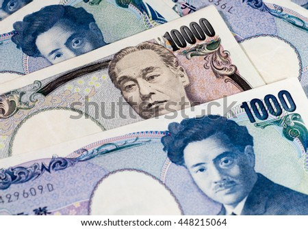 Banknotes of Japanese currency yen